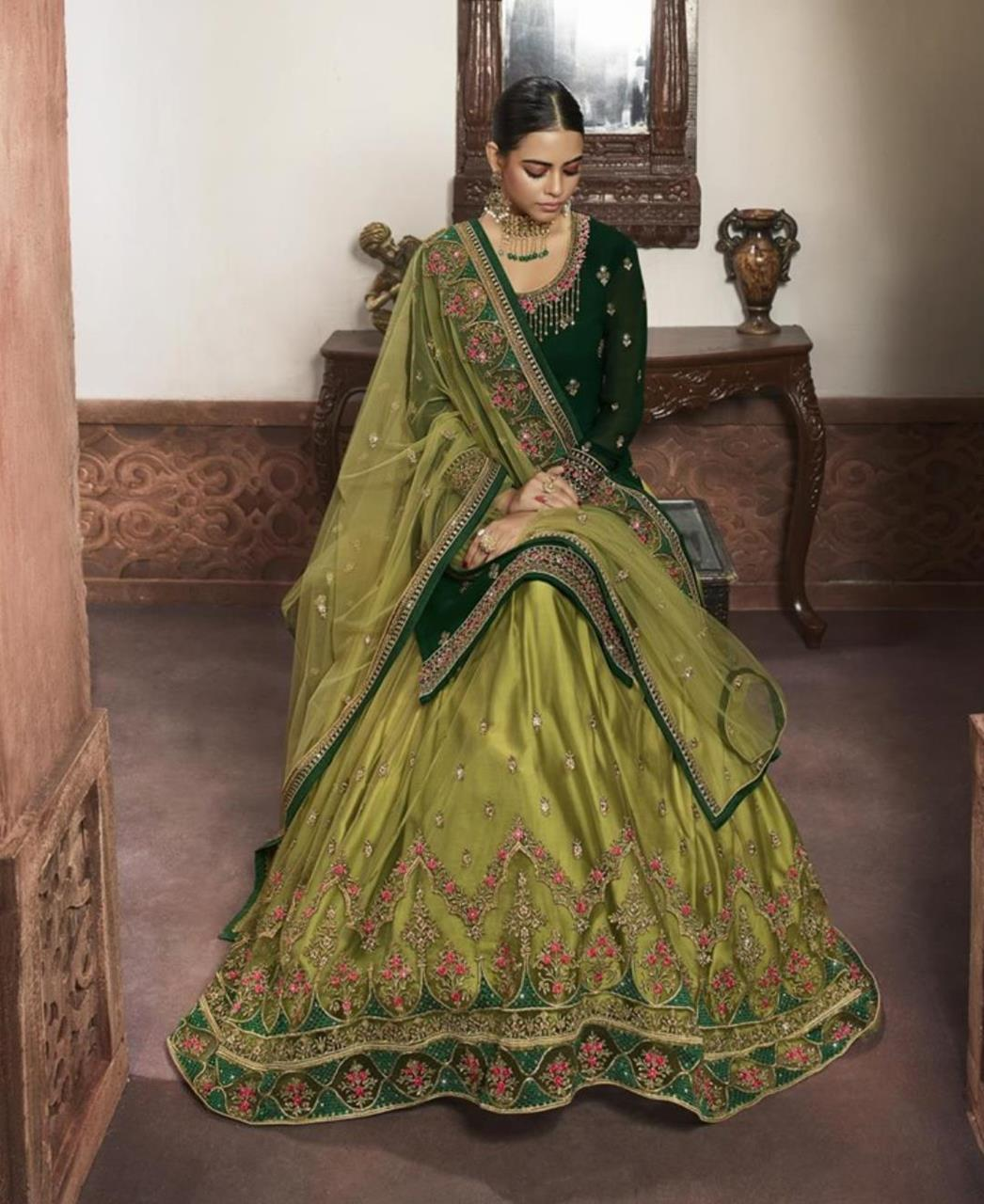 Embroidered Georgette Straight cut Salwar Kameez in Green