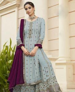 Embroidered Georgette Straight cut Salwar Kameez in Lightsky