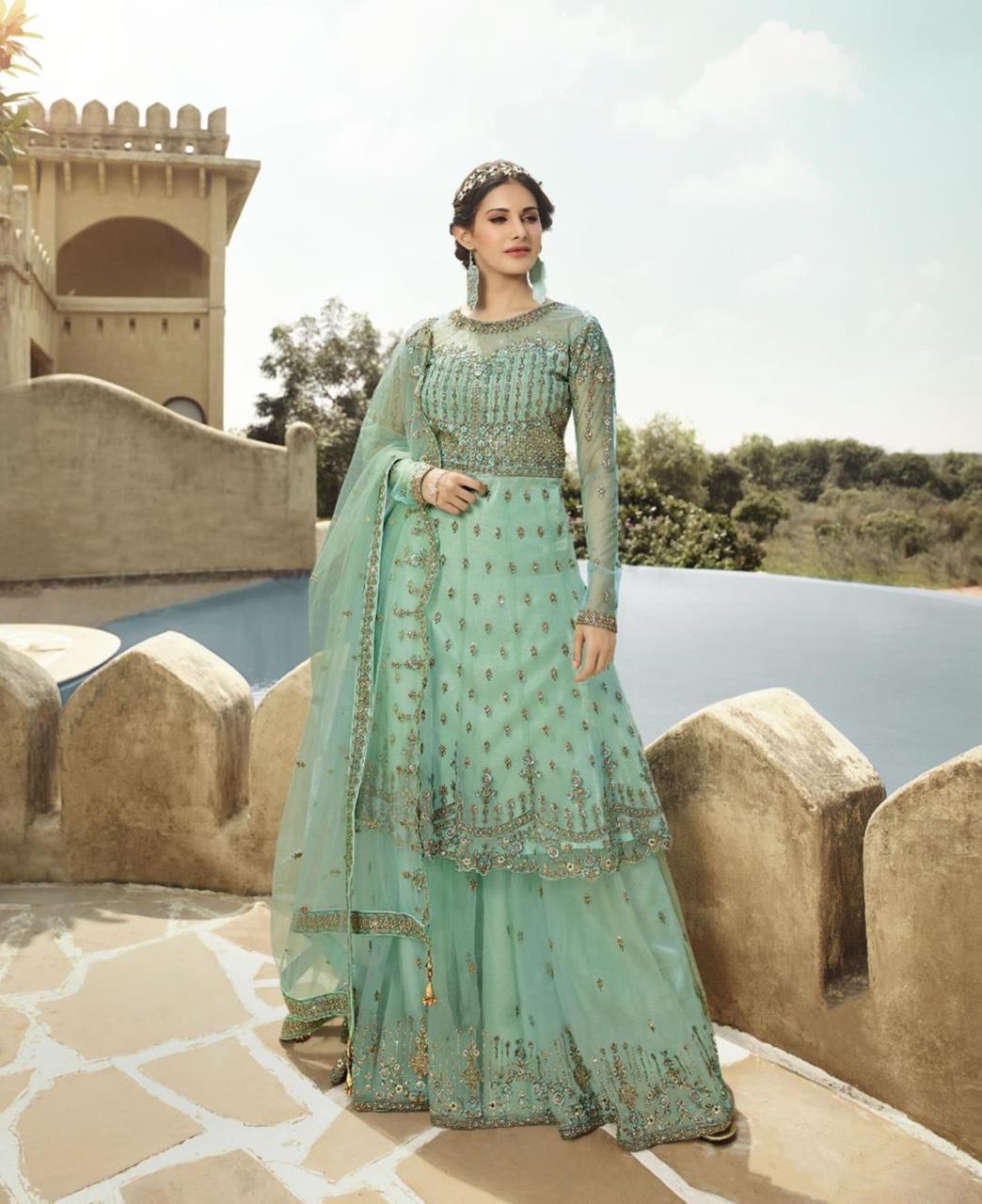 HandWorked Net Abaya Style Salwar in Aqua
