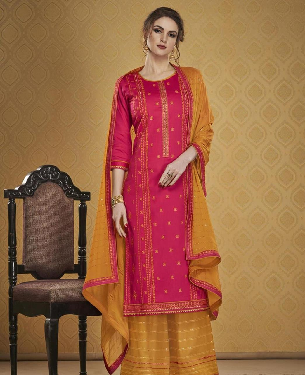 HandWorked Silk Straight cut Salwar Kameez in Pink