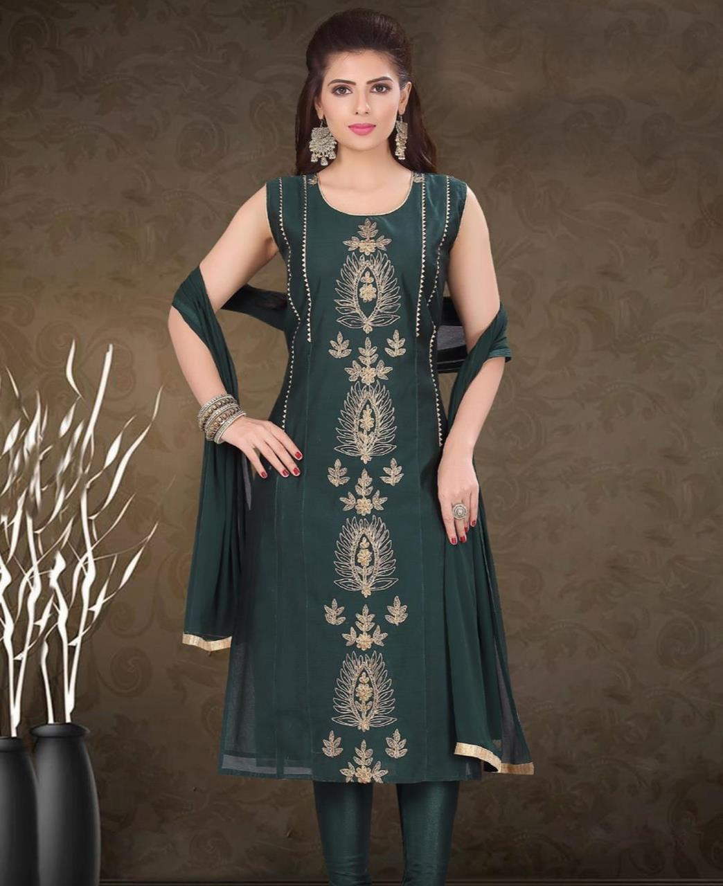 HandWorked Silk Straight cut Salwar Kameez in Dark Green