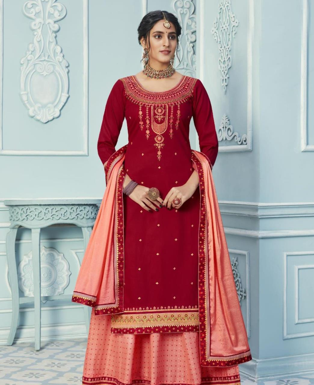 Zari Cotton Straight cut Salwar Kameez in Red