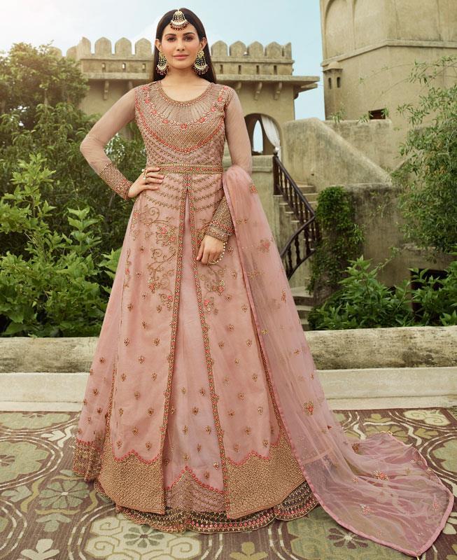 Thread Net Abaya Style Salwar in Light Pink