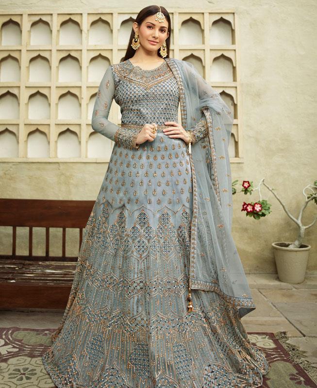 Thread Net Abaya Style Salwar in Light Blue
