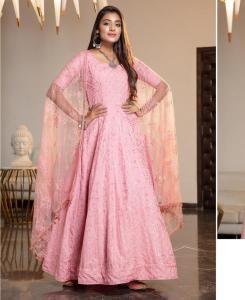 Stone Work Georgette Abaya Style Salwar in Pink