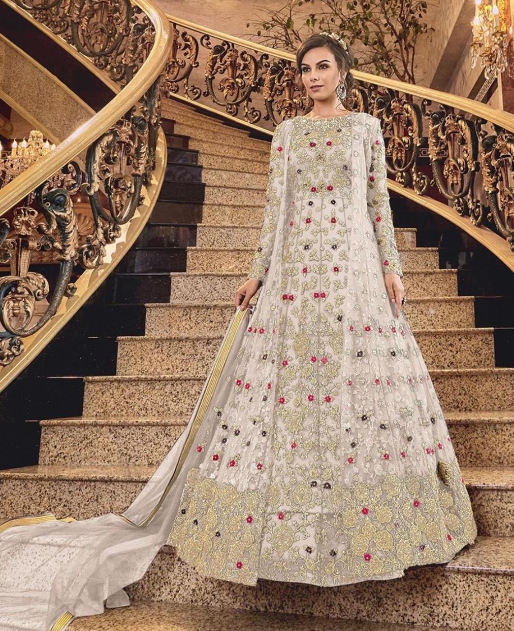 Stone Work Silk Abaya Style Salwar in White