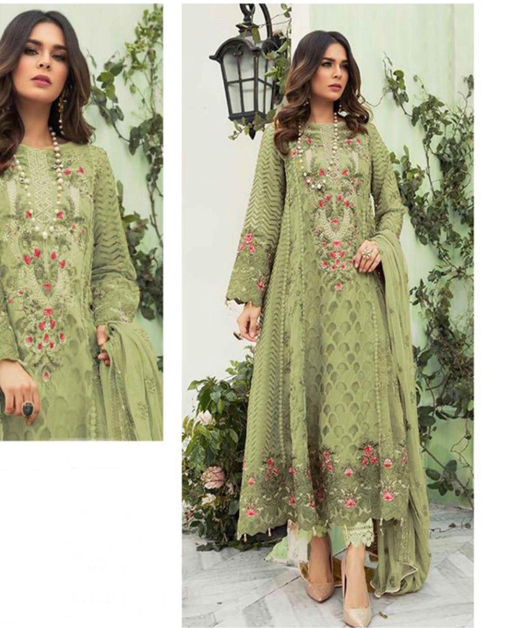 Embroidered Georgette Straight cut Salwar Kameez in Pista Green