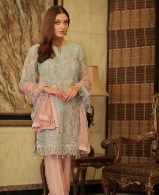 Embroidered Faux Georgette MINTCREAM Palazzo Suit Salwar