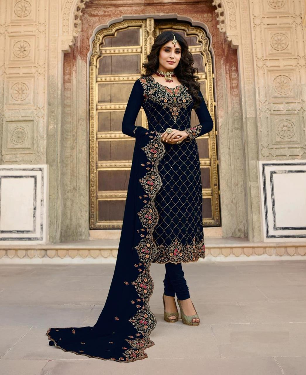 Georgette Straight cut Salwar Kameez in Navy Blue