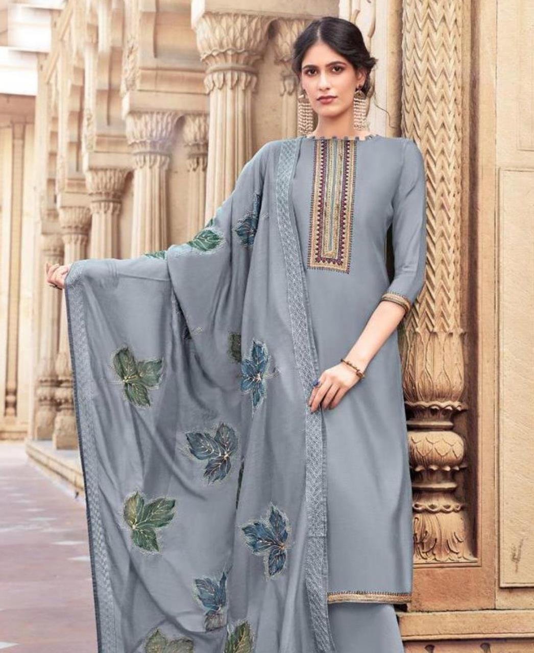 Embroidered Cotton Straight cut Salwar Kameez in Grey