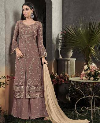 Embroidered Georgette Gray Palazzo Suit Salwar