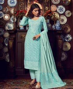 Cotton Straight cut Salwar Kameez in Skyblue