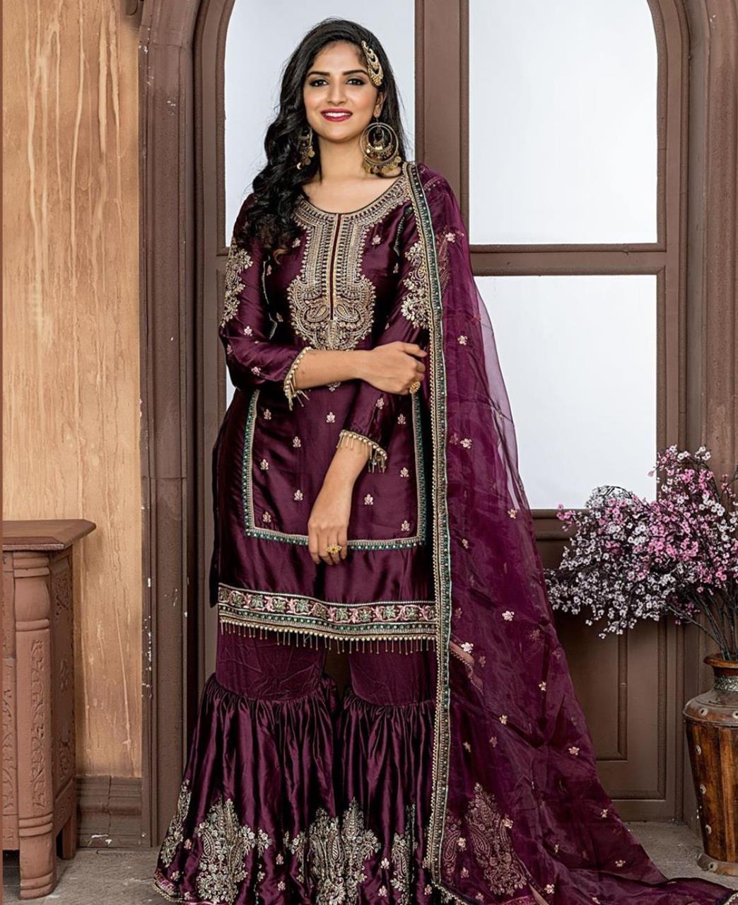 Embroidered Satin Purple Palazzo Suit Salwar