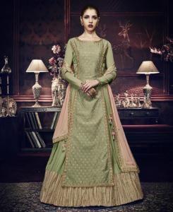 Border Work Georgette Green Abaya Style Salwar