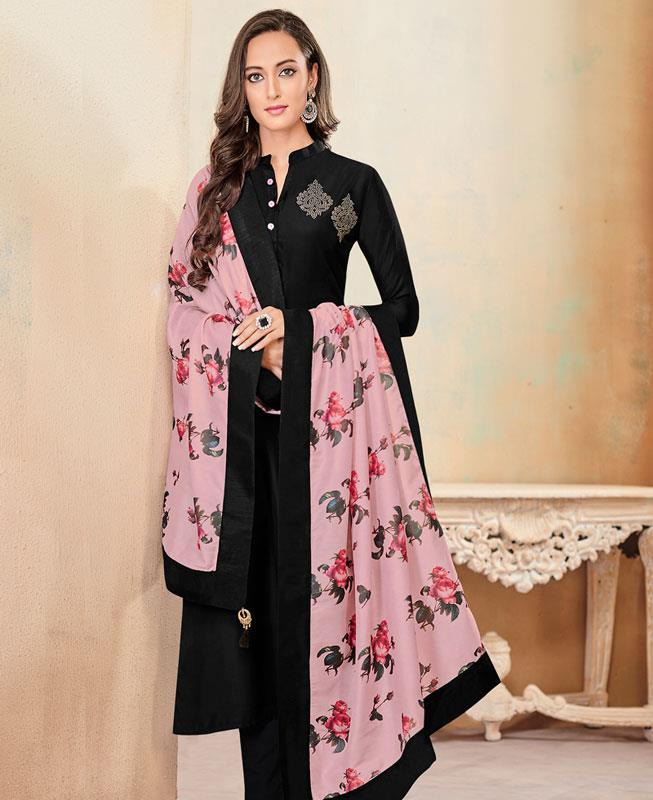 Butta Work Cotton Black Straight Cut Salwar