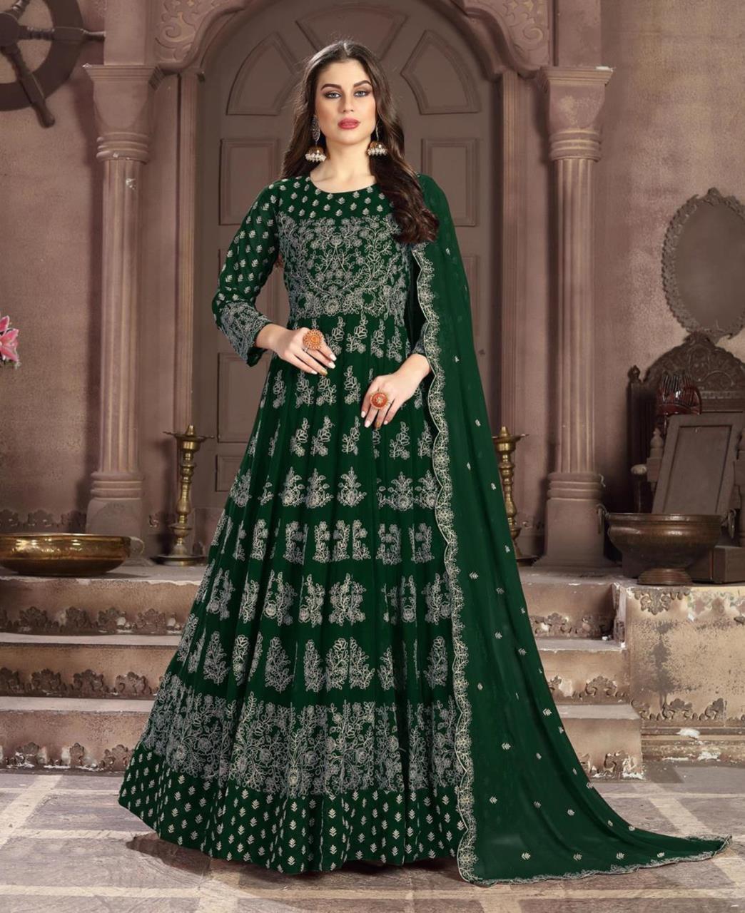 Thread Work Georgette Green Abaya Salwar