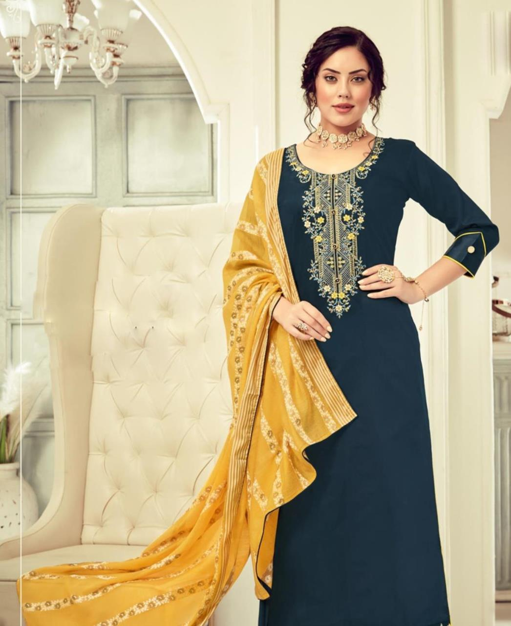 HandWorked Cotton Straight cut Salwar Kameez in Navy Blue