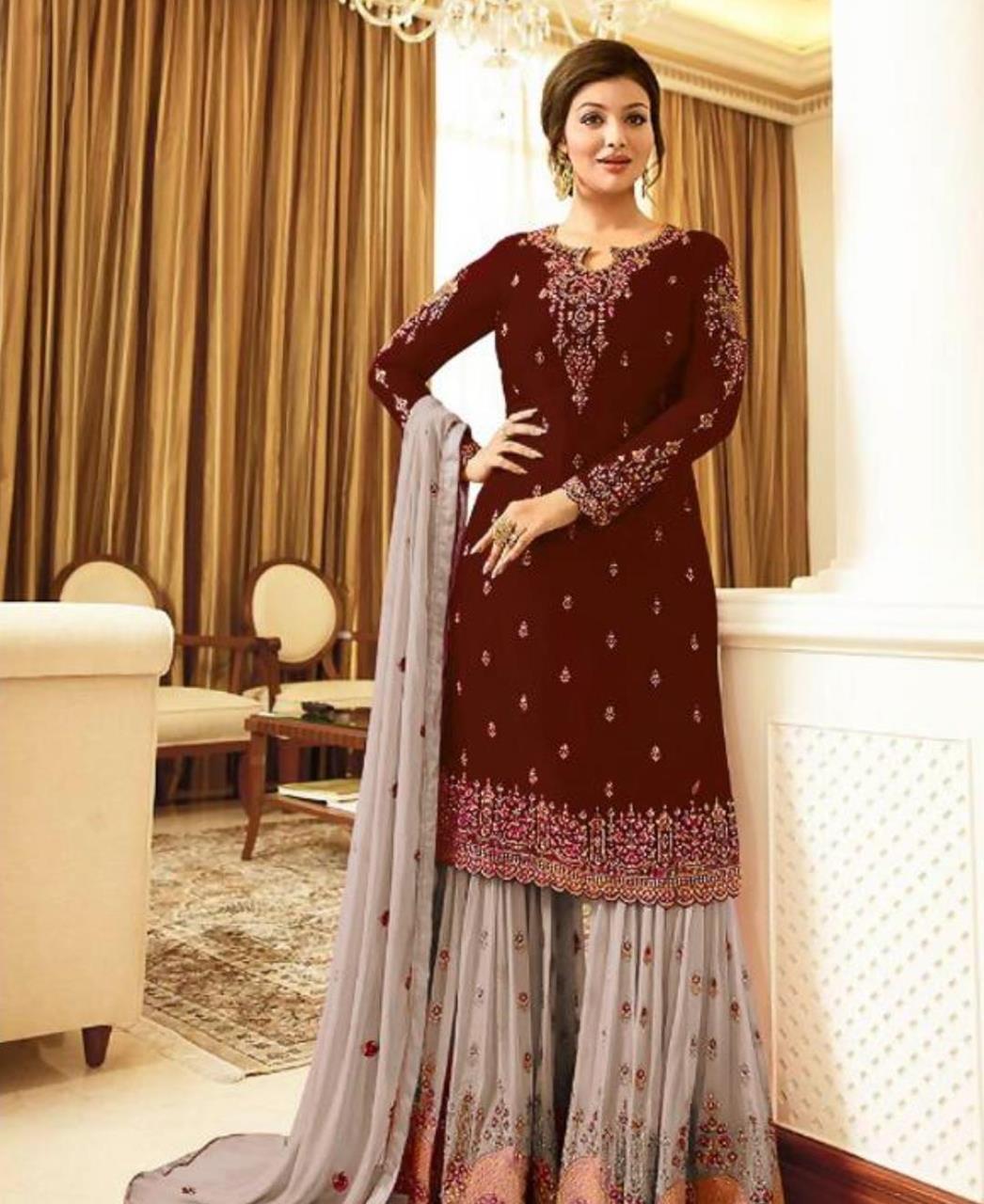 Embroidered Georgette Straight cut Salwar Kameez in Maroon