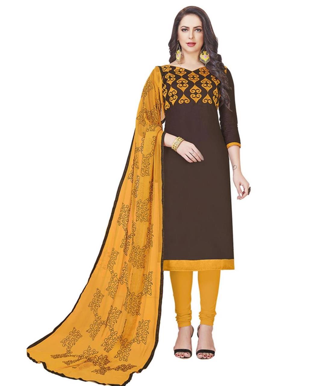 Embroidered Cotton Brown Straight Cut Salwar