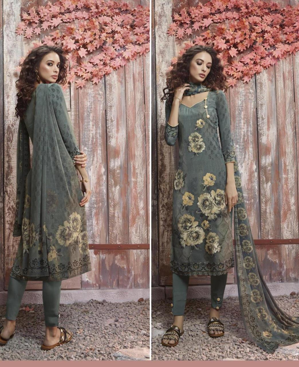 Floral Print Crepe Silk OLIVE Straight Cut Salwar