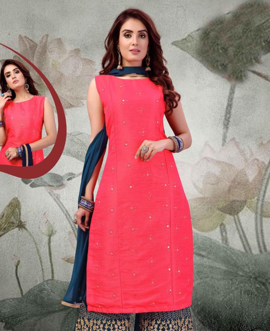 Embroidered Art Silk Pink Palazzo Suit Salwar
