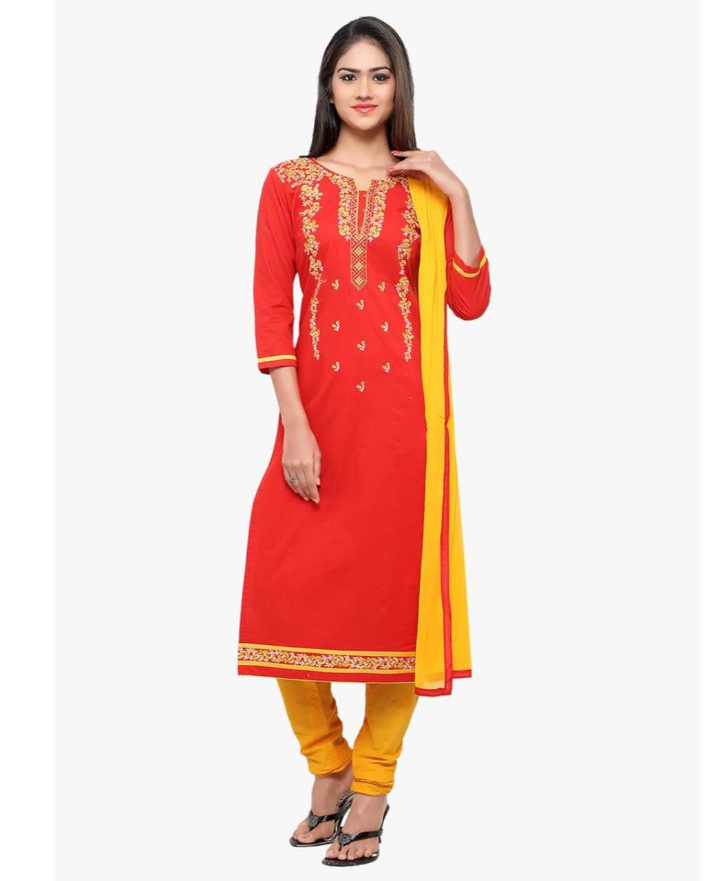 Embroidered Cotton Red Straight Cut Salwar