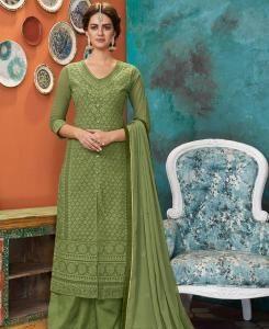 Thread Georgette Straight cut Salwar Kameez in Light Green