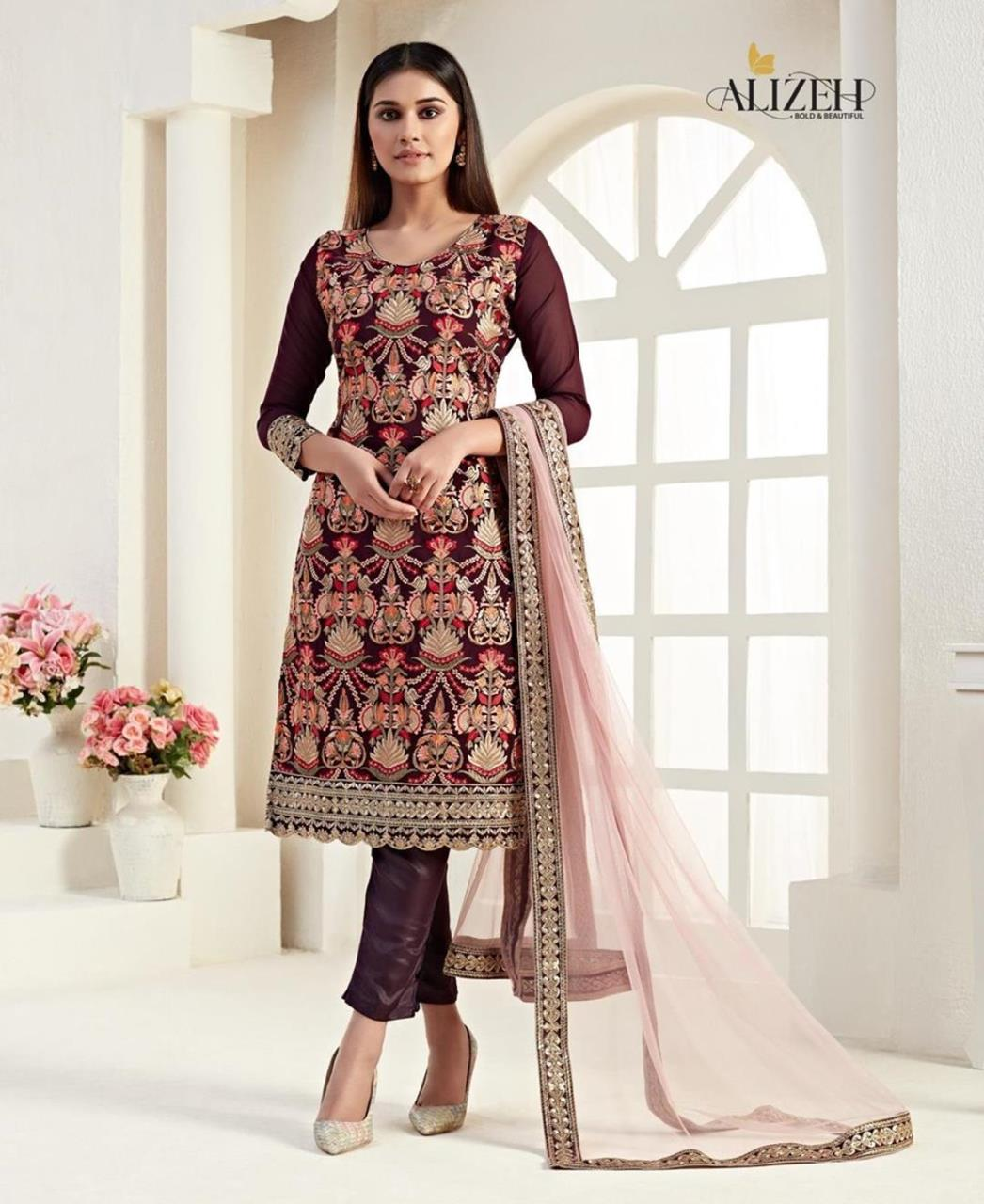 Thread Georgette Straight cut Salwar Kameez in Wine