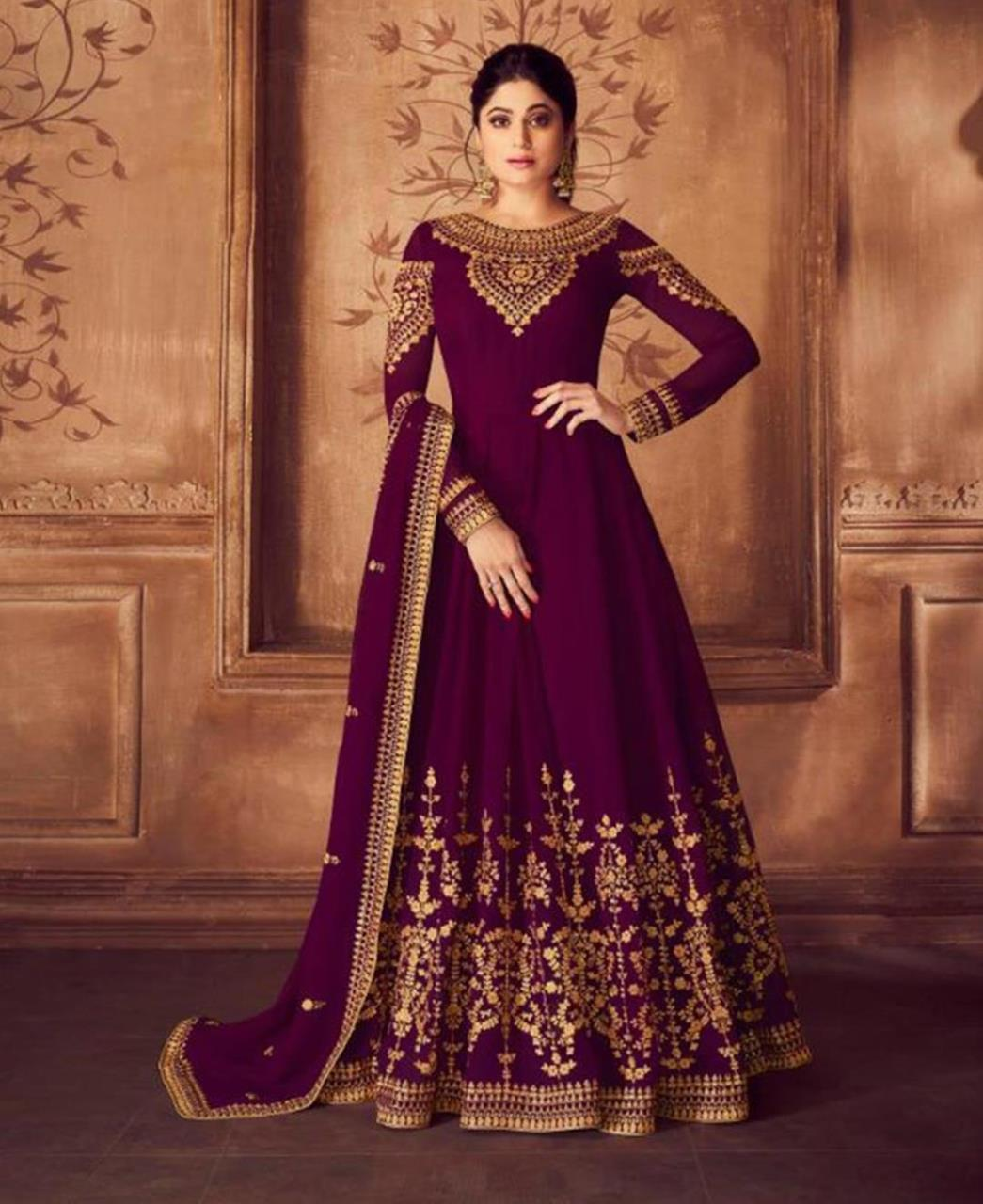 Embroidered Georgette Purple Abaya Salwar