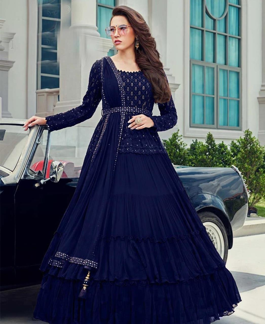 Stone Work Georgette Abaya Style Salwar in Navy Blue