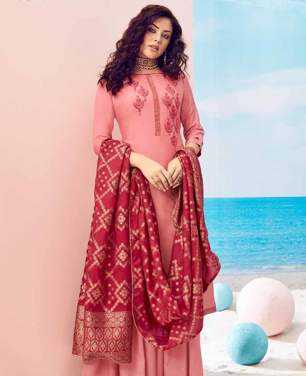 Cotton Straight cut Salwar Kameez in Light Pink