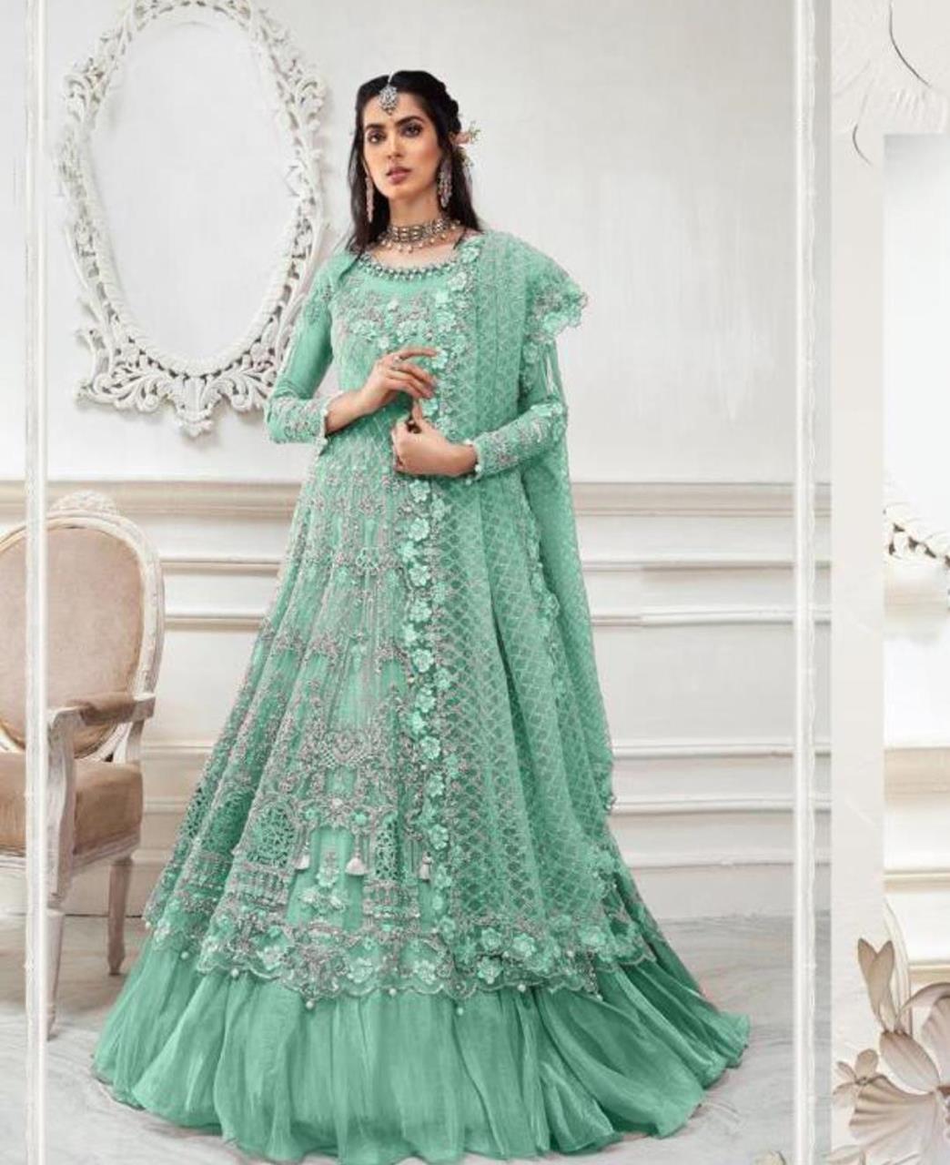 Stone Work Net Abaya Style Salwar in Green