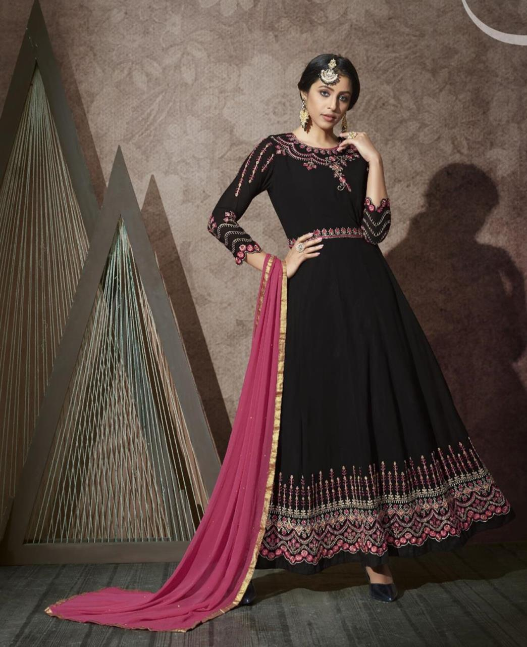 Stone Work Georgette Abaya Style Salwar in Black