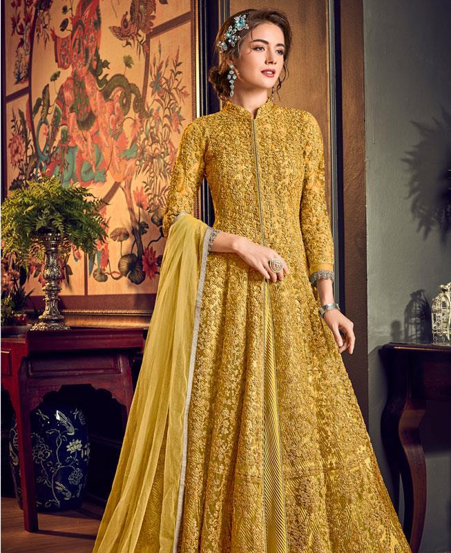 Embroidered Net Abaya Style Salwar in Yellow