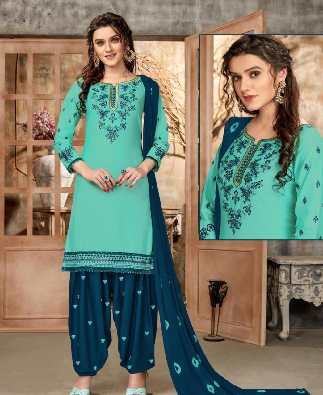 Embroidered Cotton Patiyala Suit Salwar in Sky Blue