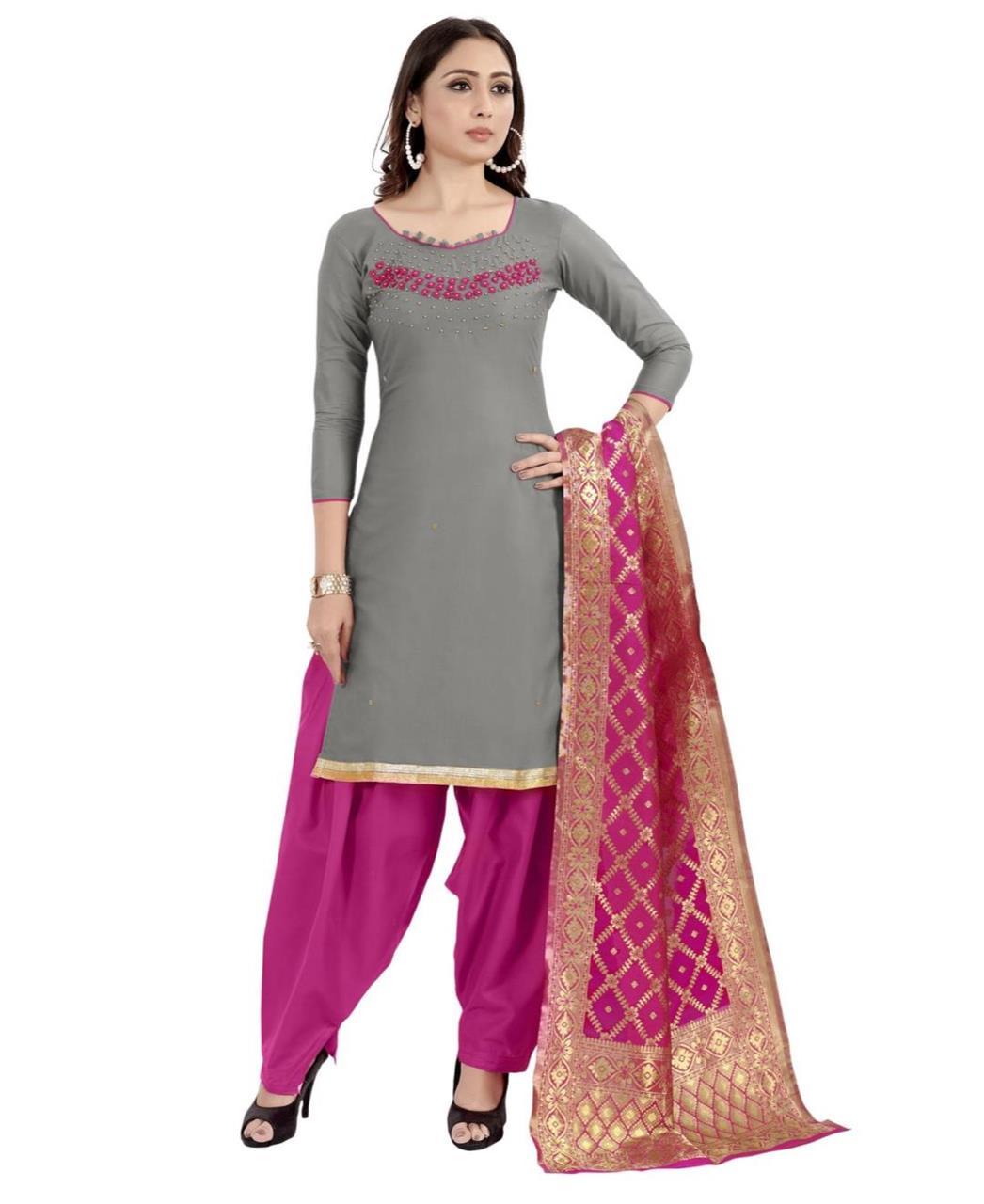 HandWorked Cotton Patiyala Suit Salwar in Grey