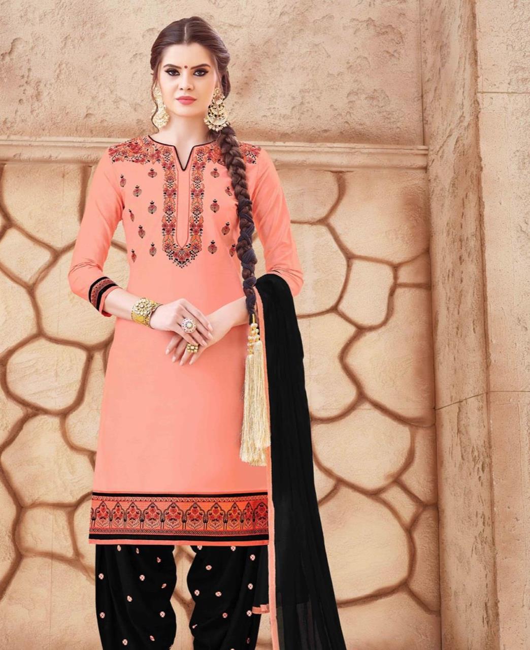 Embroidered Cotton PeachPuff Patiyala Suit Salwar
