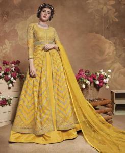 Thread Silk Abaya Style Salwar in Yellow