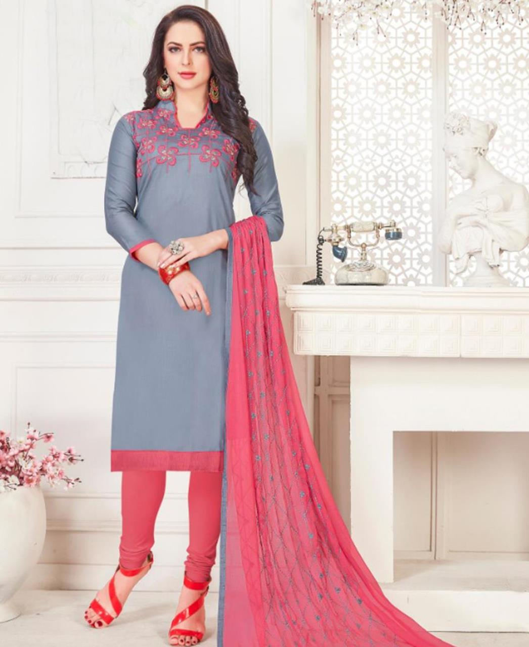 Embroidered Cotton Satin Gray Straight Cut Salwar Kameez