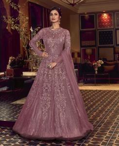 Sequins Silk Abaya Style Salwar in Light Wine
