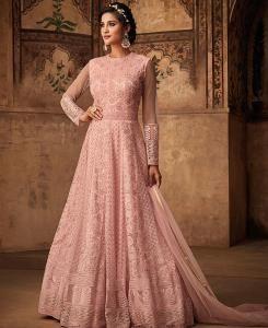 Embroidered Net Pink Abaya Salwar