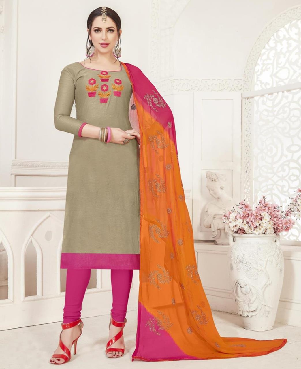 Embroidered Silk Beige Straight Cut Salwar