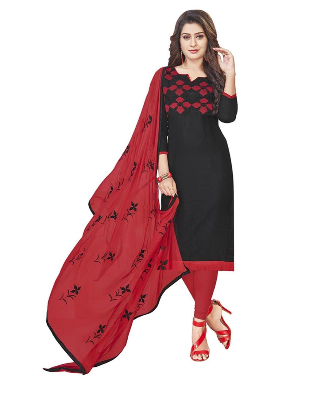 Embroidered Cotton Black Straight Cut Salwar