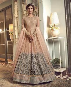 Sequins Silk Abaya Style Salwar in Peach