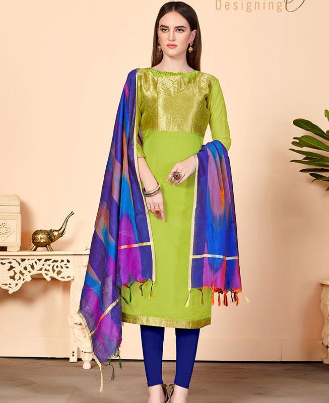 Cotton Straight cut Salwar Kameez in Parrot Green