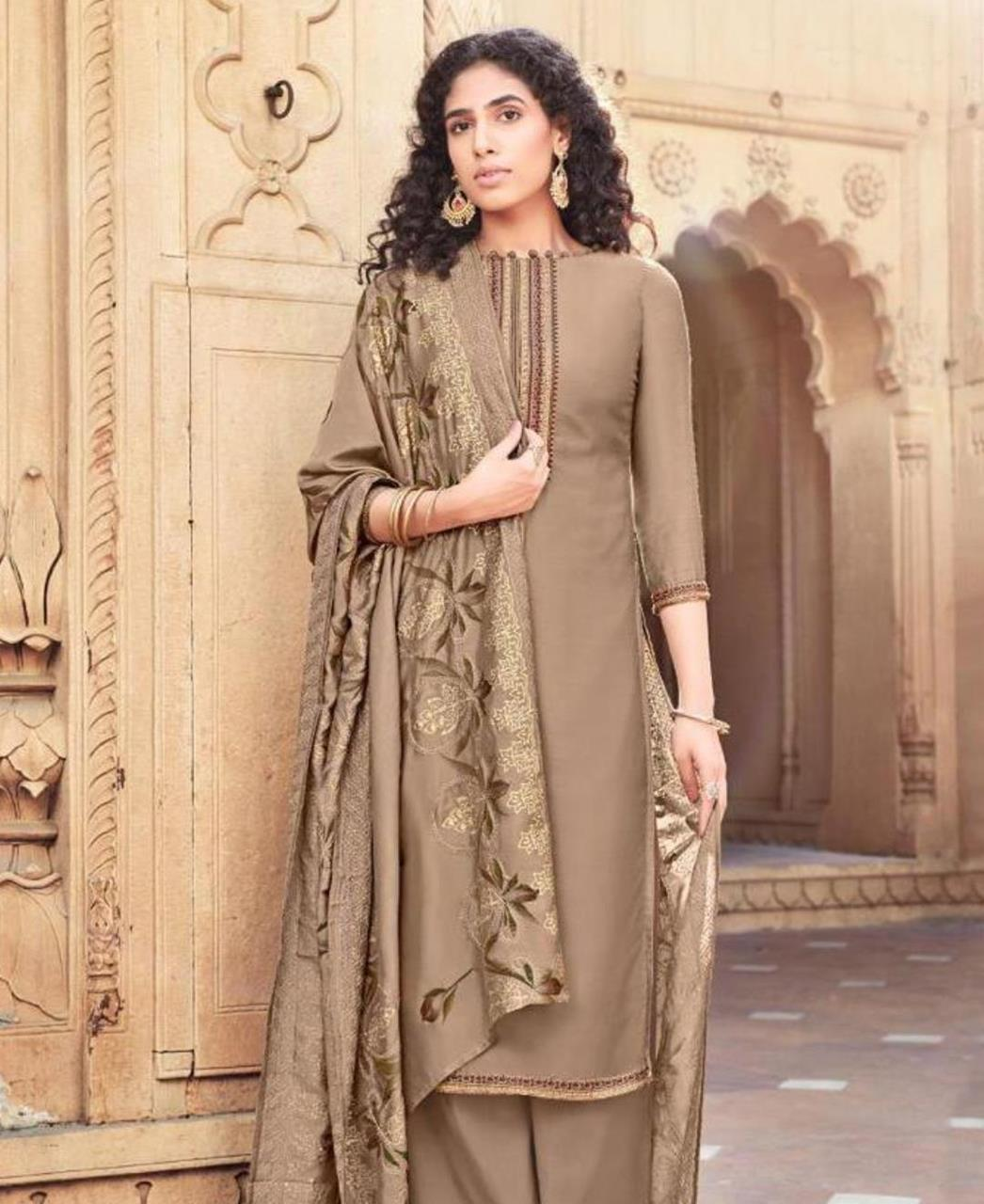 Embroidered Cotton Straight cut Salwar Kameez in Dark Beige
