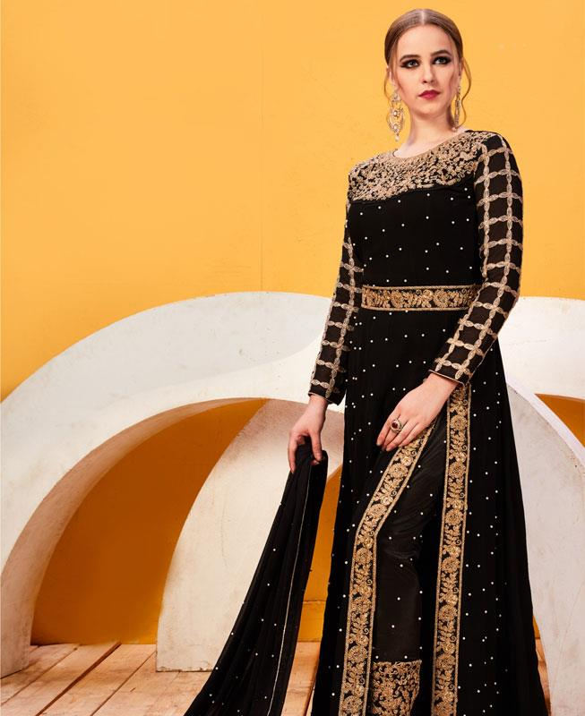 Embroidered Faux Georgette Black Abaya Style Salwar Kameez
