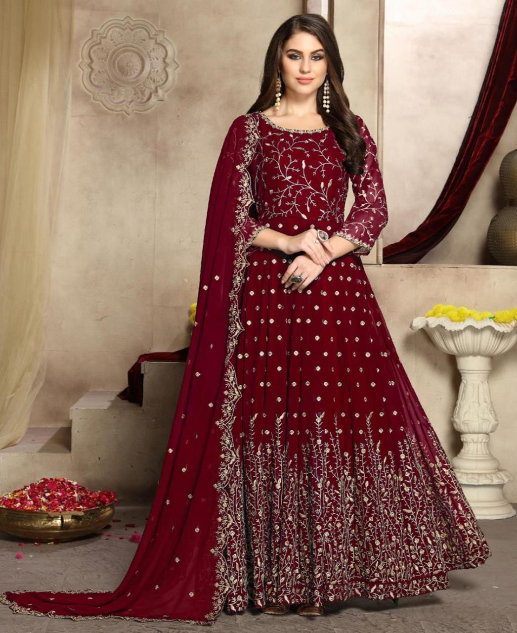 Embroidered Georgette Abaya Style Salwar in Maroon