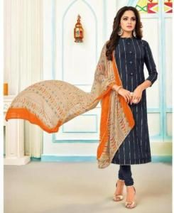 HandWorked Cotton Straight cut Salwar Kameez in Navy Blue
