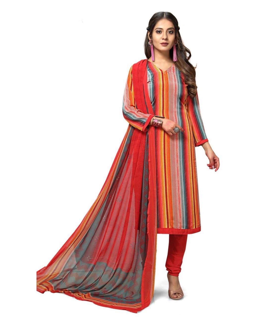 Printed Georgette Straight cut Salwar Kameez in Orange